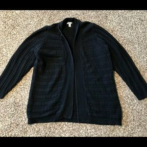 Size 2X Black cable knit open front cardigan